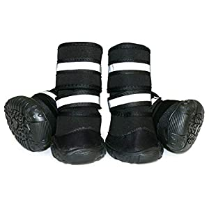 BESUNTEK Dog Boots Thick Warm Boots Shoes for Medium Large Dogs,Snow Boots Winter Anti-Dropping Double Straps Dog Boots Nonslip Rubber Sole for Snow Rain