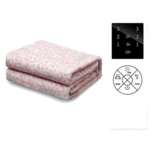 CRYX elektrische deken om te schieten en te oververhitten, fleece-voering met digitale afstandsbediening en extra voetverwarming, timer en 3 warmtestanden, 180 x 80 cm