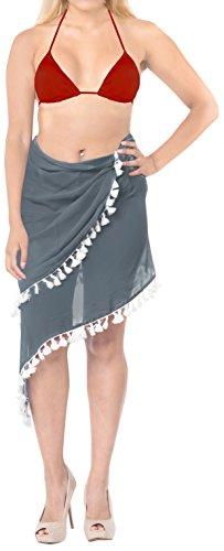 LA LEELA Bufanda para Cubrir la Cara Las Mujeres para Cubrir la Piel del Traje de baño Traje de baño Corto Pareo Playa de la Falda del Abrigo Lleva Gris 2