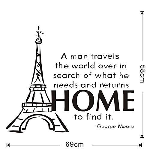 yuandp EIN man rijst de wereld over muurstickers beroemde motto Eiffeltoren vinyl behang voor kinderkamer DIY stickers 69 * 58 cm
