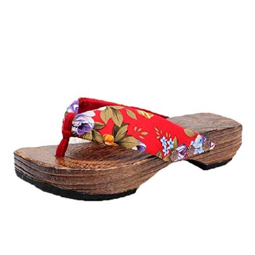 Sandalias Mujer Verano 2019 SHOBDW Floral Zapatillas En Oferta Zapatos de Plataforma Sandalias de Madera Zueco Zapatillas de Madera Chanclas Mujer Tallas Grandes(Rojo,EU38)