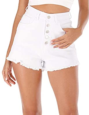 Haola Womens High Waisted Denim Shorts Summer Casual Stretch Cotton Raw Hem Jeans Shorts with Pockets White L