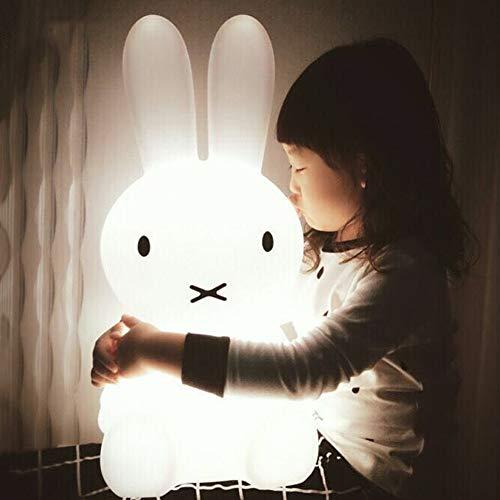 Lámpara de noche con diseño de conejo de oso con luz LED para la mesita de noche del bebé, decoración de dibujos animados, regalo de Navidad para niños y niñas, PE, Rabbit--50cm