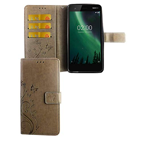 König Design Handy-Hülle Kompatibel mit Nokia 2.1 Tasche Hülle Cover Wallet Kunstleder Grau