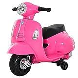 homcom Moto Elettrica per Bambini con Licenza Ufficiale Vespa Batteria 6V, Fari e Clacson, per Bimbi da 18-36 Mesi, Rosa, 66.5x38x52cm