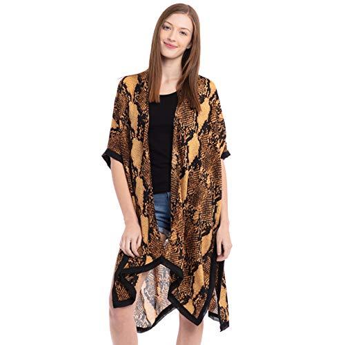ScarvesMe Women's Soft Snake Skin Print Blouse Kimono Cover Up Brown