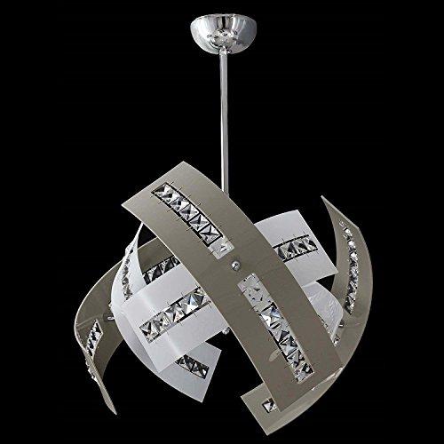 Lampadario a Sospensione Stile Moderno in Cristallo e Plexiglass 3 LUCI Vari colori -SHAPE - Design Elegante per Soggiorno Salone Camera (TORTORA E BIANCO)