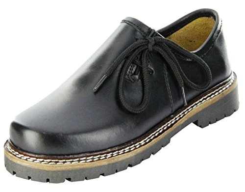Bergheimer Trachtenschuhe Haferlschuhe Black Nappa Kinder Schuhe Bergheim Kids, Farbe:schwarz, Größe:34 EU