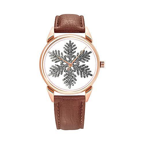 Orologio da uomo alla moda al quarzo Business impermeabile brillante orologio da uomo marrone in pelle orologio Natale verde e rosso simboli modello orologio da polso