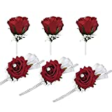 FAYBOX 6 Pack Wedding Wrist Corsage and Boutonniere Set for Bride,Bridesmaid,Man,Groom,Red Rose Wedding Flowers Accessories Prom Suit Decorations