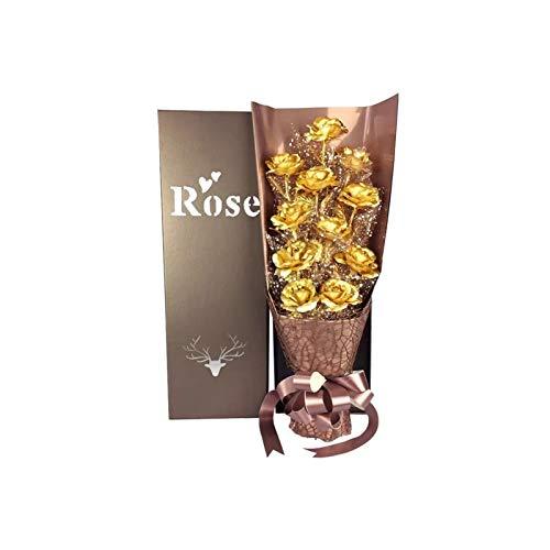 UpSoitech Rose Regalo Caja de regalo 24k Flor de rosa de oro flor artificial artificial para siempre rosa con caja de regalo Mejores regalos románticos para las mujeres su madre en el día de San Valen