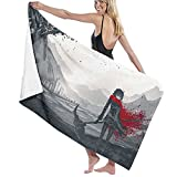 Anime Print Super Absorbent Lightweight Thin Plush Towel,RWBY Ruby Rose and Crescent Scythe Extra Large Sand Free Super Soft Microfiber Beach Towel for Travel Gym Sports 52X32 Inch