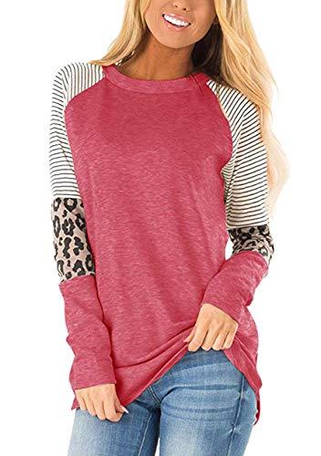 OMZIN Damen Casual T-Shirt Vintage Farbblock T-Shirt Freizeit Elegant Freizeitshirt Dunkelrosa 2XL