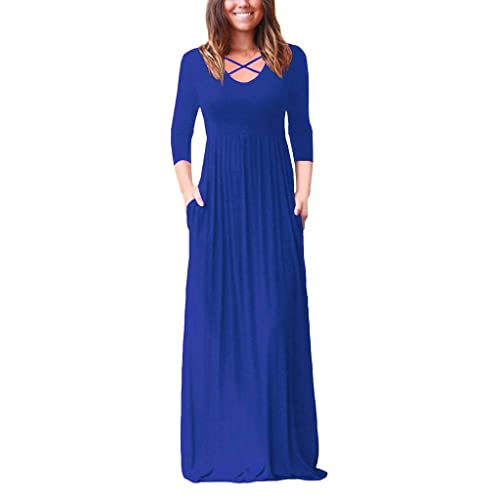 EZBELLE Womens Sleeveless Racerback and Long Sleeve Maxi Dresses with Pockets Plain Loose Long Dresses