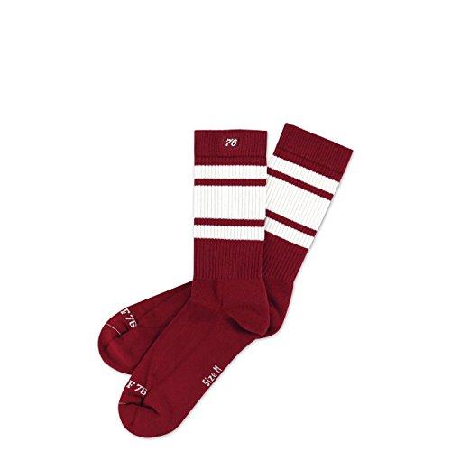 Spirit of 76 Big Red Lo | Halbhohe Retro Socken mit Streifen Weinrot, Weiß gestreift | kniehoch | stylische Unisex Kniestrümpfe Größe M (39-42)