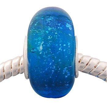 Andante-Stones Silber Murano Glas Bead Deep Blue Sea Element für European Beads + Organzasäckchen
