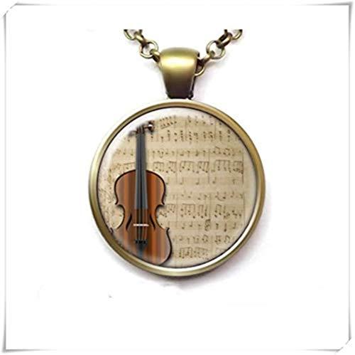 heng yuan tian cheng Viool op Vintage Klassieke Blad Muziek Ketting, Orkest Ketting, String Instrument Sieraden, Muzikant Sieraden, Gift voor Violinist