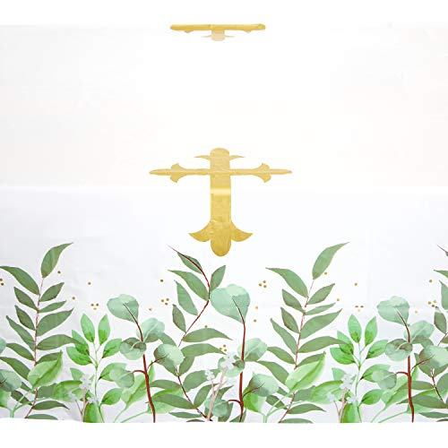 Sparkle and Bash Catholic Religious Gold Cross Table Cloth Cover, (3 Pack) 54 x 108 in.