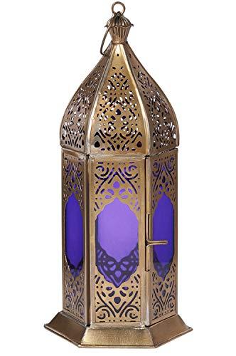 Orientalische Laterne aus Metall & Glas Basma Blau 24cm | orientalisches Windlicht | Marokkanische Glaslaterne für innen | Marokkanisches Gartenwindlicht für draußen als Gartenlaterne