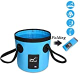 CHARS Multifunctional Portable Collapsible Bucket, Compact 20L Folding Water Storage Container for Camping,Traveling, Fishing, Gardening,Car Washing, Hiking, Boating (Blue)