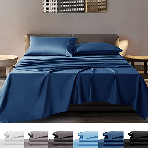 SONORO KATE Bamboo Sheets Bed Sheet Set - 100% Pure Organic Viscose - 400TC Bamboo 6 Pieces - Fit 18-20 Inch Deep Pocket Silk Feel, Cooling, Anti-Static, Hypoallergenic (Navy Blue, Queen)