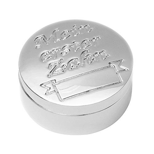 Brillibrum Design Zahndose Milchzahndose erster Zahn mit Namen personalisiert Aufbewahrungsbox für Kinder Zahndose Silber mit Gravur