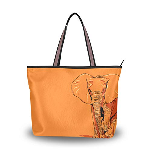 Woman Tote Bag Shoulder Handbag Orange Elephant for Work Travel Business Beach Shopping School