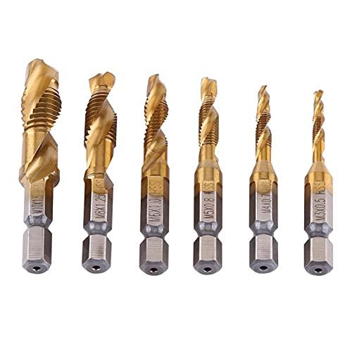 Brocas Para 6pcs 1/4 HEX HEX THREET METRIC HILO M3-M10 Titanio Recubierto HSS Taladro y bits de grifo