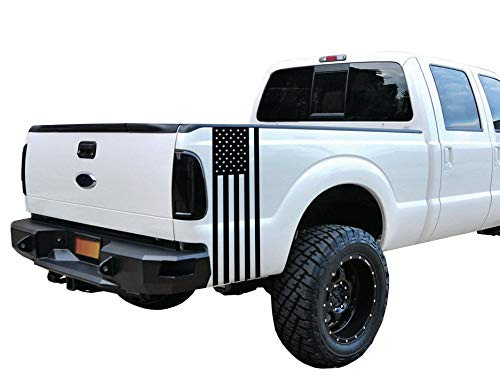 Matte Black Universal American Flag Vinyl Decal Set: Fits Any Dodge Ram Ford Chevy Nissan Toyota