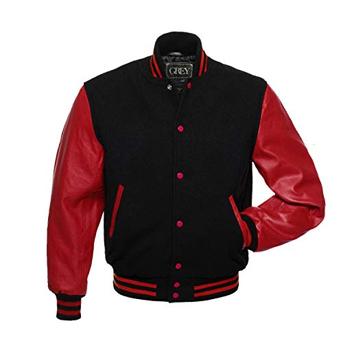 Varsity Jacket | Baseball Jacket Men | Letterman Jacket Men | Men's Leather Jacket | Genuine Leather Sleeve | Bomber Jacket