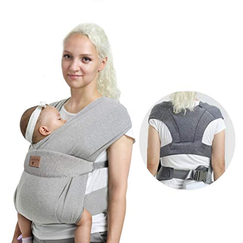 Vrbabies Ergonomic Baby Carrier for Newborns to Toddlers, Skin-Friendly and Soft Front Baby Carrier Wrap, Easy Breastfeeding, Lightweight and Breathable, Perfect Baby Shower Gifts (Light Grey)