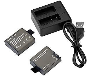 AKASO 2 x 1050mAh Rechargeable Action Camera Battery with USB Dual Charger for AKASO EK5000 EK7000/ ODRVM/ Apeman/ Vitin/ Pictek/ Yuntab