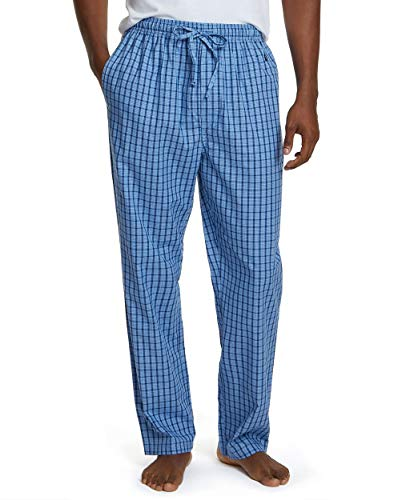 Nautica Men's Soft Woven 100% Cotton Elastic Waistband Sleep Pajama Pant, French Blue, Large