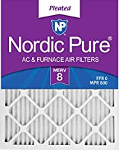 Nordic Pure 16x24x1 MERV 8 Pleated AC Furnace Air Filters 6 Pack