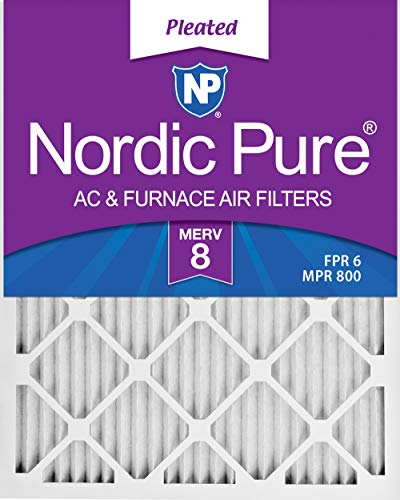 Nordic Pure 16x25x1 MERV 8 Pleated AC Furnace Air Filters 6 Pack, 16x25x1M8-6