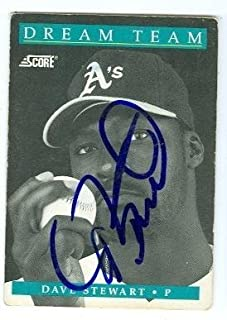 Dave Stewart autographed baseball card (Oakland Athletics) 1991 Score #883 Dream Team Poor Condition