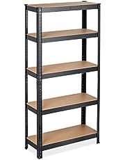 Relaxdays Rekken voor zware lasten, HBT: 150 x 75 x 30 cm, belasting: 875 kg, 5 planken, om te steken, kelder, garage, staal, zwart