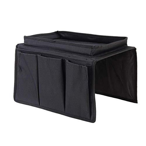 Amusingtao Organizer per bracciolo del divano, con telecomando, per divano, in tessuto Oxford, con portabicchiere, per sedia da schienale, materassi, sedie, braccioli, colore nero, taglia unica