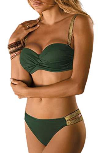 JFAN Traje de Baño de Mujer Cinturón Dorado Acolchado Bra Tops de Bikini Conjunto de Bikini de Color Liso Push Up Swimwear Dos Piezas Trajes de Baño Divididos