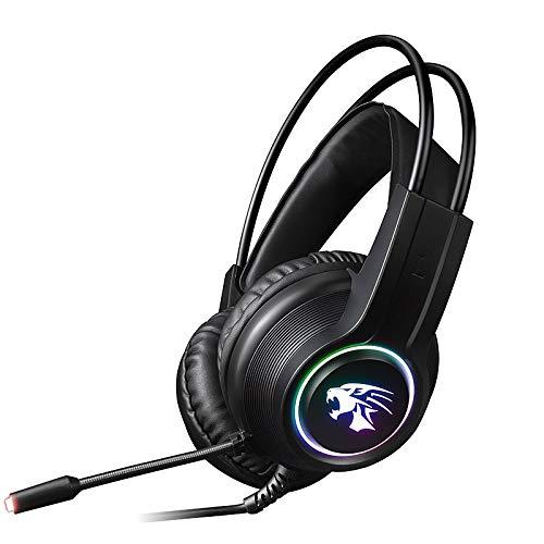 Ughuyzu V9000 Dual 3.5 mm + interfaz USB Cable auriculares para juegos, longitud del cable: 2,1 m