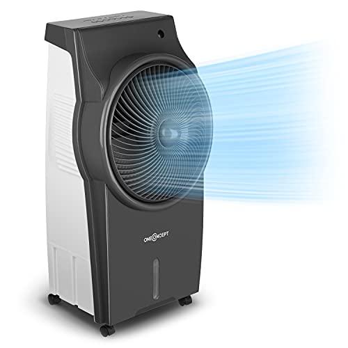 oneConcept Kingcool – 4 en 1, ventilador, enfriador de aire, humidificador, limpiador de aire, ionizador, depósito de agua de 8 litros, caudal de 2340 m³/h, 95 W, oscilación, portátil, gris claro