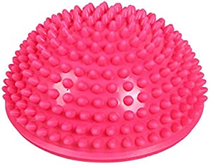 Inflatable Half Yoga Balls, Anti-slip Half Round Foot Massage Point Fitball Exercises Trainer Fitness Balance Ball for Children Adults ,Pink