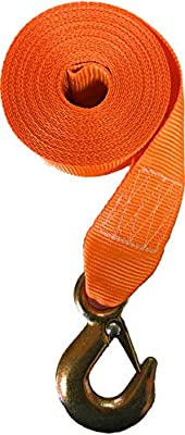 Winch Strap with Hook for Boat Trailer Heavy Duty Replacement Capascity 3000 Lbs orange Nylon 2 inch Wide x 20 feet long Hi Visibility Fishing Jet Ski and ATV Manual Transom marine securing tie down