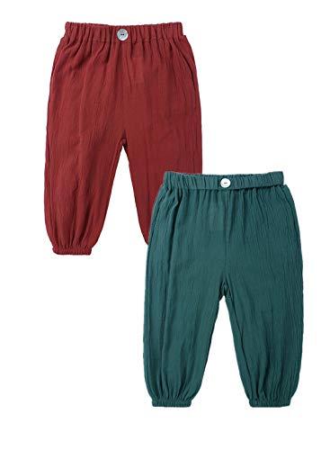 AYIYO Baby-Leinenhose, für Mädchen, Jungen, elastische Taille, lose lange Haremshose, 2 Stück Gr. 80, Ziegelrot + grün