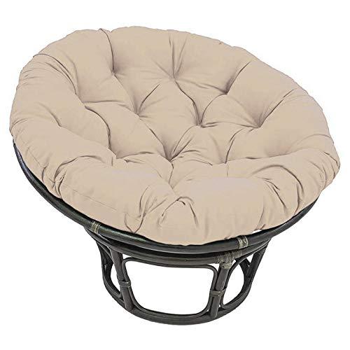 Cojín redondo para silla de patio Papasan, 120x120x15 cmcojín para silla Papasan con correas de posicionamiento, asiento de huevo grueso, hamacas para silla colge, lavable para interiores y exteriores
