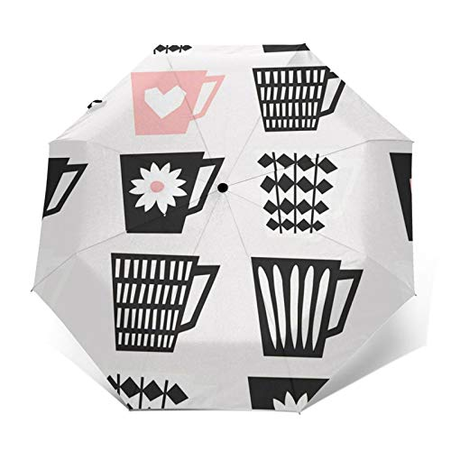 Windproof Travel Folding Umbrella Automatic Mid Coffee Cups, Large Rain Folding Compact Umbrella Portable Fast Drying with Auto Open Close Button