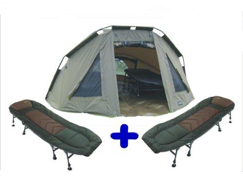 MK-Angelsport 5 Seasons, 2 Mann Dome (302cmx272cmx146cm) Zelt Karpfenzelt + 2 x 8-Bein-Liegen (Tragkraft 140kg) + Gummihammer, Traumpaket, Innenhöhe 140cm, Outdoor, Camping