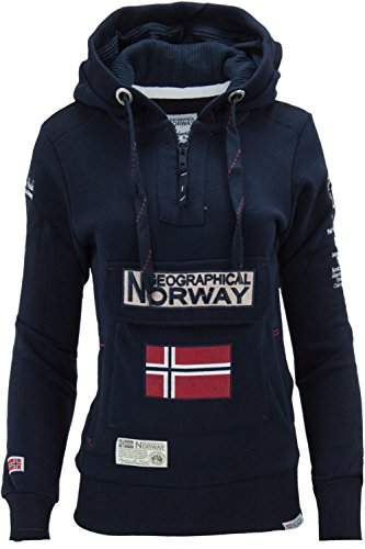 Geographical Norway Felpa GymClass Donna Woman tascone Half Zip Anapurna Cappuccio (Blu, M)