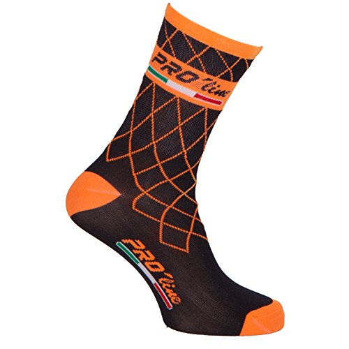 PRO' line Calze Calzini Ciclismo PROLINE Team Arancione Fluo Cycling Socks 1 Paio One Size New Line