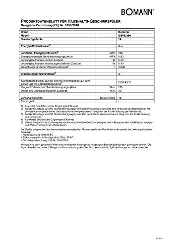 Bomann GSPE 880 Einbau-Geschirrspüler teilintegriert - 7